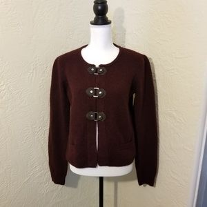 Cynthia Rowley burgundy buckle-front cardigan